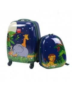 """2 Pcs 12"""" and 16"""" Kids Carry on Suitcase Rolling Backpack School Luggage Set"""