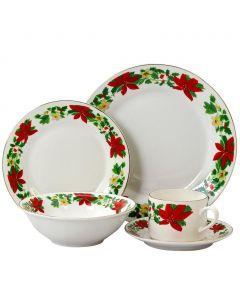 Gibson Home Poinsettia Holiday 20 Piece Ceramic Dinnerware Set