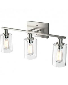 3-Light Modern Bathroom Wall Sconce with Clear Glass Shade-Silver [EP24544US]