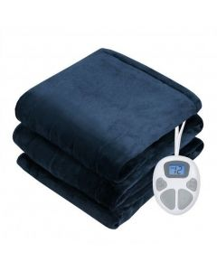 """62"""" x 84"""" Flannel Heated Electric Blanket with 10 Heating Levels-Red"""