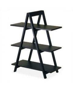 Modern 3-Tier A-Frame Display Shelf Bookcase in Black
