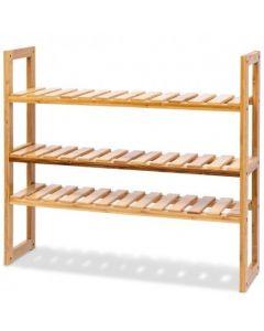 Multifunctional 3 Bamboo Adjustable Utility Storage Stand Rack