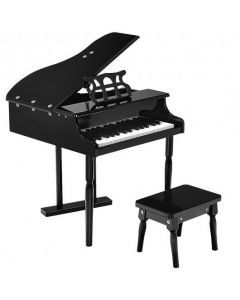 Musical Instrument Toy 30-Key Children Mini Grand Piano with Bench-Black