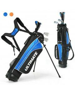 "Set of 5 Ultimate 31"" Portable Junior Complete Golf Club Set for Kids Age 8+ -Blue"