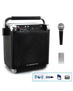 Trexonic Wireless Portable Party Speaker with USB Recording, FM Radio & Microphone, Black