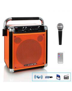 Trexonic Wireless Portable Party Speaker with USB Recording, FM Radio & Microphone, Orange