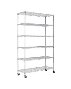 Heavy Duty 6-Shelf Metal Storage Rack Shelving Unit with Casters