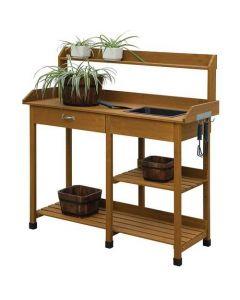 Wooden Potting Bench Work Table-sink Light Oak Finish