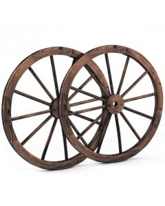 Set of 2 30-inch Decorative Vintage Wood Wagon Wheel
