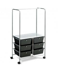 6 Drawer Rolling Storage Cart with Hanging Bar -Black