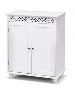 White Wooden 2-Door Storage Cabinet Cupboard