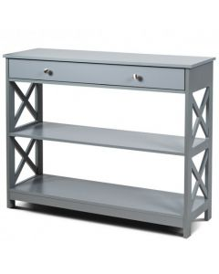 Console Table 3-Tier with Drawer and Storage Shelves-Gray