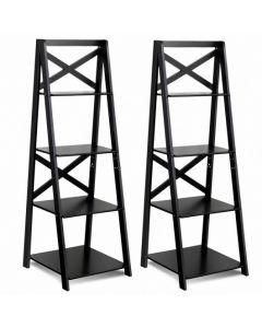 4-Tier Wood Display Storage Bookshelf-Black