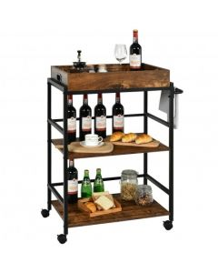 3-Tier Kitchen Serving Bar Cart with Lockable Casters and Handle Rack for Home Pub-Rustic Brown