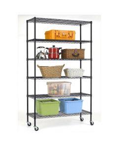 Heavy Duty 6-Shelf Adjustable Metal Shelving Rack with Casters