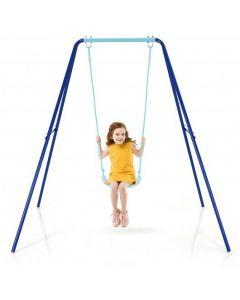 Outdoor Kids Swing Set with Heavy Duty Metal A-Frame and Ground Stakes-Blue